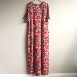 Lularoe Floral Maria Maxi Dress 2XL EUC